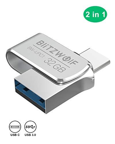 32gb chiavetta usb, blitzwolf pendrive usb3.0 + type-c flash drive, chiavetta memoria usb 3.0, 32gb data traveler in alluminio -argento