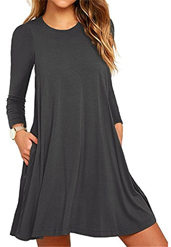 OMZIN Frauen Plus Größe S-4XL Langarm-lose Schaukel Casual T-Shirt Taschen Kleid 2-Dunkelgrau