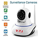 V.T.I. IP Dual Antenna WiFi Enabled Wireless Indoor Security Camera with Night Vision, 720P Resolution, Rotatable Video...