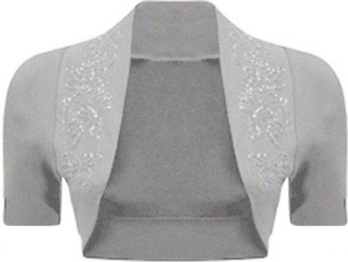 Chocolate Pickle ® Femmes Plus Size Sequin perles Bolero Cardigan Tops 36-54 Short Sleeve Light Grey