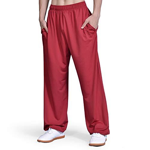 asdxz Tai Chi Hosen Traditionelle Trainingshosen Taiji Kung Fu Wing Chun Shaolin Klassische Kleidung Baumwollhose Unisex,Red-M (Red Wings Kostüm)