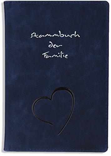 Stammbuch Leder Trave Blau Herz Hochzeit Stammbuch der Familie