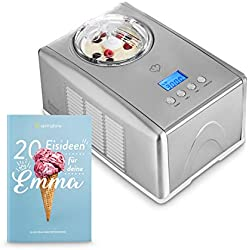 Heladera Emma con compresor de refrigeración autónoma 1,5 l Máquina de helados de acero inoxidable con apagado automático, recipiente extraíble y pantalla LCD