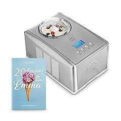 Idea Regalo - Gelatiera EMMA con Compressore Autorefrigerante 150W, 1.5L, Macchina per Gelato e Sorbetti in Acciaio inox con Spegnimento Automatico, Cestello per Gelato Estraibile, Ice Cream Maker, Ricettario incl