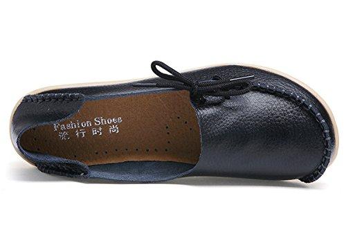 Damen Casual Mokassin Leder Loafers Fahren Schuhe Comfort Freizeit Flache Schuhe Slipper Flats chuhe Low-top Lederschuhe Erbsenschuhe Schwarz