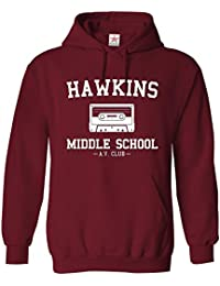 Star and Stripes Inspired Stranger Hawkins Middle School things Printed Hoodie, hooded sweatshirt Funny Slogan Printed Hoodie