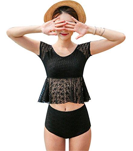 2PCS Kurzarm Blumen Lace Tankini Bikini Oberteil Top Mit Hohe Taille Badeshorts Strandkleidung Schwarz M (Bh Gepolsterte Half Lace)