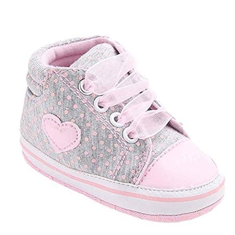 Kingko® Baby Girl Canvas Shoe Heart shape Shoes Sneaker Anti-slip