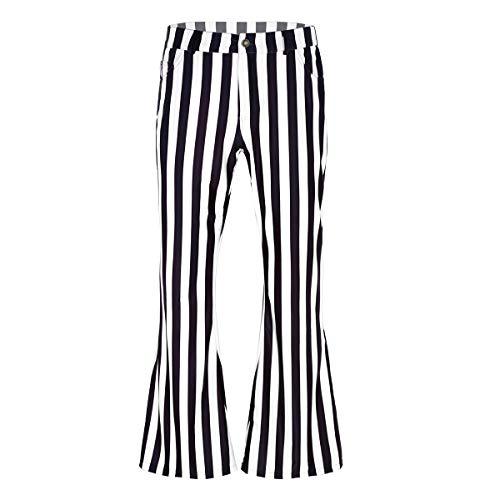 Agoky Herren 70er Jahre Retro Schlaghose Breites Bein Streifen Muster Disco Kostüm Halloween Faschingskostüm Schwarz&Weiß XXL(Taille (Latein Kostüm Muster)