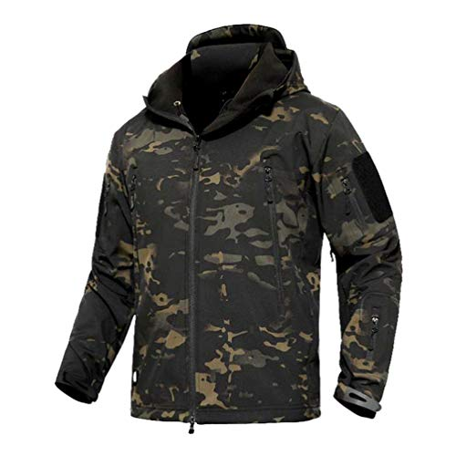 YuanDian Herren Tactical Camouflage Softshelljacke Herbst Winter Outdoor Armee Military Fleecejacke Wasserdicht Winddicht Warm Mit Kapuze Trekking Wander Skijacke Jagd Mantel Dunkle Tarnung XL