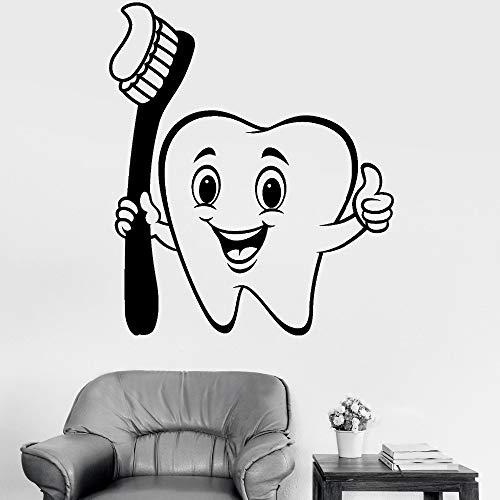 jiuyaomai Nette Vinyl Wandaufkleber Positive Cartoon Zahn Zahnbürste Wohnkultur Wandbild Zahnpflege Aufkleber Badezimmer Dekorative Tapete Pink 84x98 cm -