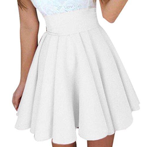 Preisvergleich Produktbild Malloom® Frauen-Dame High Waist Plain Skater Flared gefaltete kurze Minirock Shorts Röcke Damen Party Cocktail Minirock Damen Sommer Skater Rock (weiß, XL)