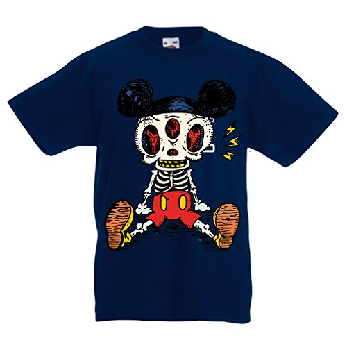 Kinder T-Shirt Skelett Einer Maus (3-4 Years Dunkelblau (Kind's Monsters Inc Kostüm)