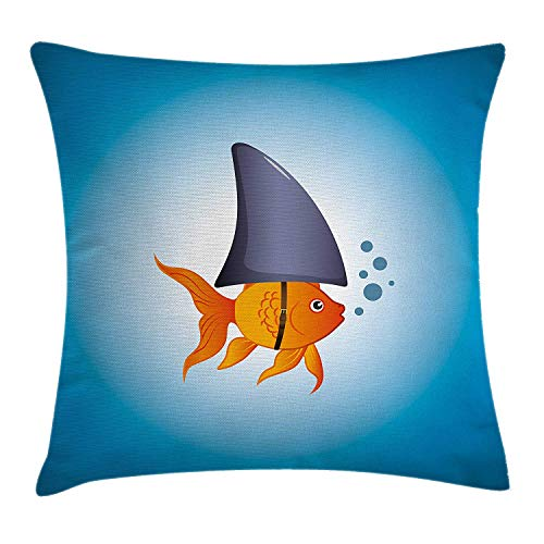 enbezüge Shark Throw Pillow Cushion Cover Little Goldfish Wearing A Shark Fin to Scare Pators Success Concept 18 X 18 inches Violet Blue Grey ()