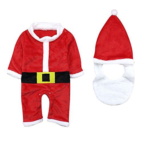 Le SSara Invierno bebe Navidad mameluco recién mono traje sombrero y barba 3 piezas (12-18 Meses)