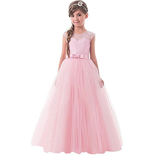 PLOT Children Girls Bowknot Backless Formal Princess Zip Net Yarn Party Dress 5-13 T