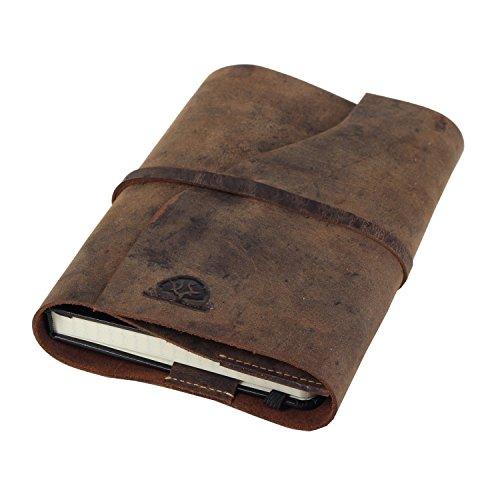 Greenburry Vintage Taschen-Organizer Notizbuch ein echter Eyecatcher. Das Leder Tagebuch DINA6 ist Handgefertigt und aus echtem pflanzlich gegerbten weichem Rindleder - Inlet mühelos wechselbar