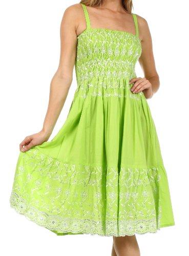 esticktes geschmücktes Mieder Knielanges Kleid - Spring Green - One Size (Bis Kleider)
