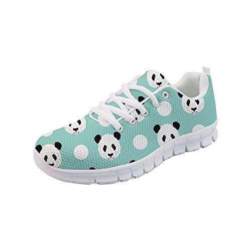 Dot Fashion Sneaker (Coloranimal Durable Running Jogging Sneakers Panda Polka Dots Pattern Gehen Sie leicht zu Fuß Lace-Up Flats Frühling Herbst Leichte Flats Schuhe EU Größe 42)