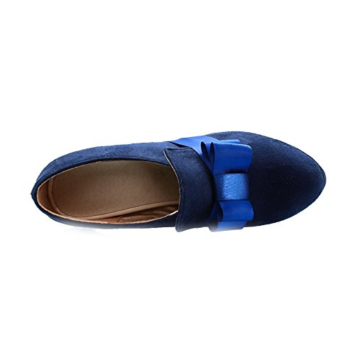 Camoscio Azzurro Tira Colore Donna Di Con Voguezone009 Di Scarpe Tacco Solido Rotonda qIwvAZx