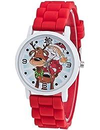Regalos de Navidad,Tongshi Niños color de la manera del reloj del silicón reloj de la correa (rojo)