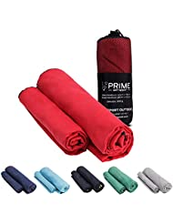 PRIME ART WOOD® Microfaser Handtücher 2er Set (70x140 cm und 40x80 cm) Schnelltrocknend, Extrem Saugfähig, Ultraleicht - Reisehandtuch Set mit Tasche - ideal für Outdoor, Reisen, Camping