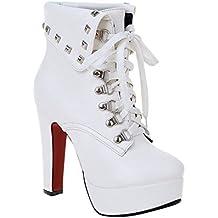 Minetom Mujer Otoño Invierno Botines Remaches Zapatos De Cordones Zapatos Plataforma Tacón Alto Martin Boots