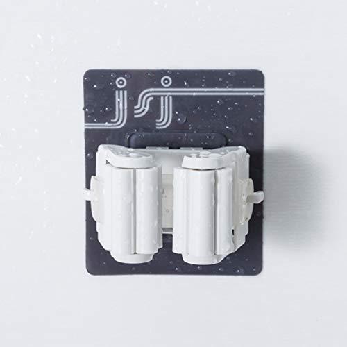 4h6yerf Magischer Stick Starker Haken Badezimmer Wischmop Aufhänger Nagel frei Mop Clip Kartenhalter in feinem Stil weiß