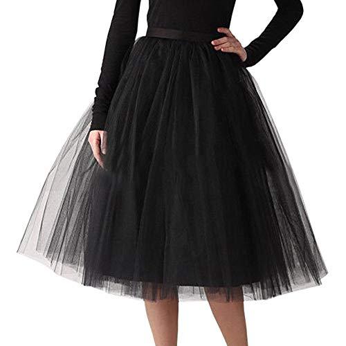 Andouy Damen Tutu Midi Rock Tüll Petticoat Vintage Mesh Plissee Dance Organza Dress-up Prinzessin Größe 36-48(36-48,Schwarz)