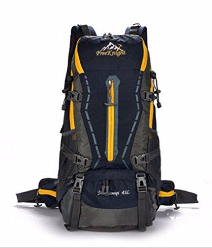 45L Wasserdichtes Nylon Professionelle Outdoor-Sport Klettern Wandern Klettern Taschen Bergsteigen Rucksack Reisen Dark Blue