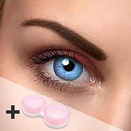 2lenti a contatto Aqua di colore azzurro chiaro, lenti a contatto annuali con portalenti, adatte anche per gli occhi scuri, oppure da indossare per carnevale o Halloween