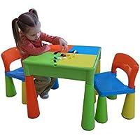 Preisvergleich für LibertyHouseToys Spieltisch und Stühle mit Schreibfläche und Fläche für Lego, sand, Wasser, oder zur Aufbewahrungs