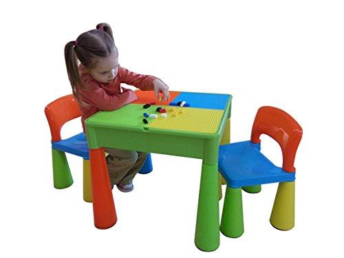 LibertyHouseToys Spieltisch und Stühle mit Schreibfläche und Fläche für Lego, Sand, Wasser, oder zur Aufbewahrungs