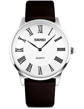 Neue Herren Uhren Mode Beiläufig Lederband Quarz Armbanduhr Klassische Römische Ziffern Wasserdichte Uhren Geschenke