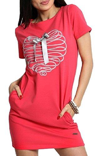 Zeta Ville - Robe mini tunique coeur noeud broderie manche courte - femme - 925z Rose