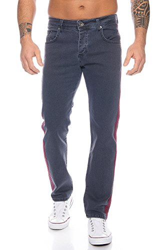 Rock Creek Herren Designer Jeans Denim Grau Hose Herrenjeans [RC-2114 - Grau - W33 L34] -