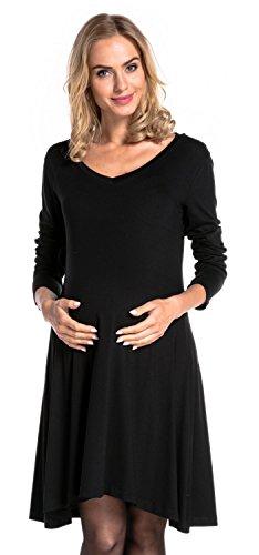 Happy Mama Damen Umstands Midi Schaukel Kleid Schwangerschaft V-Ausschnitt. 658p  Schwarz ...
