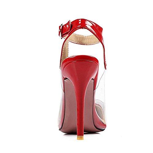Zanpa Donna Mode Slingback Pompes Transparent 1 # Rouge