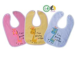 Vijkan Aarushi Baby Multi Colour Soft Cotton Water Resistance Round Bibs Pack of 3