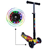 Innova Kick Tri Scooter for Kids (Best Gifts) | Unisex, Tilt & Turn, LED Light Up Flashing PU Wheels, Compact, Lightweight, Adjustable Height (Graffiti Yellow)
