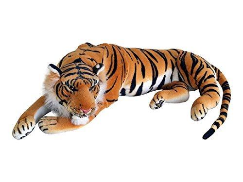 TE-Trend XXL Plüschtier Tiger Kuscheltier Stofftiger lebensechte Raubkatze liegend Dschungel Steppe 90 cm Mehrfarbig getigert