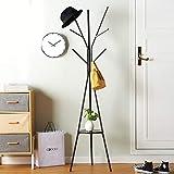 YMJ Boden Garderobe Schmiedeeisen Home Wohnzimmer Garderobe Hall Garderobe 45x180cm &++ (Farbe : SCHWARZ)