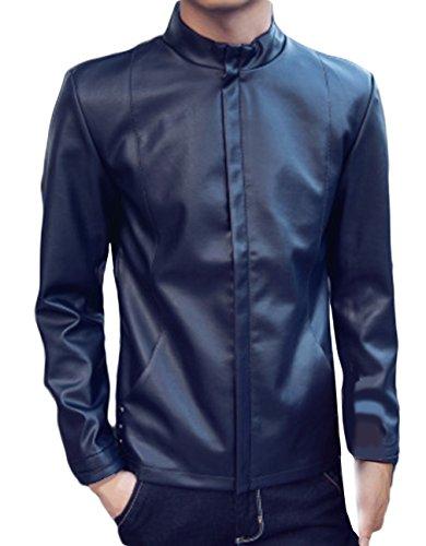 La Vogue Veste Blouson Motard Motorcycle Jacket Homme Garçon Manteau Bleu Foncé