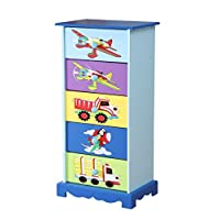 WODENY Childrens Storage Drawers | Boys Chest of Drawers Bedroom | Kids Storage Cabinets Boxes, with Airplanes Cars Trucks Paintings Blue Green Yellow Purple