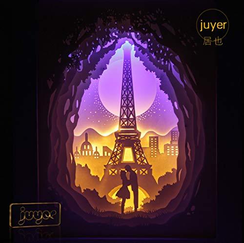 Licht und Schatten Papier schnitzen Lampe 3DIY Liebe Paris Nachttischlampe Nachtlicht Geschenk für Männer und Frauen -