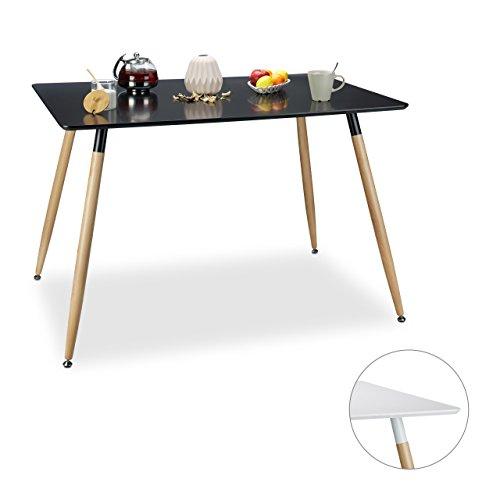 Relaxdays tavolo da pranzo in design moderno legno vari colori disponibili colore nero e - Misure tavolo da pranzo ...