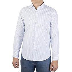 0072Voray Ga Camisa de Sport Hombre de Rayas con Cuello Italiano (0072-01, 5)