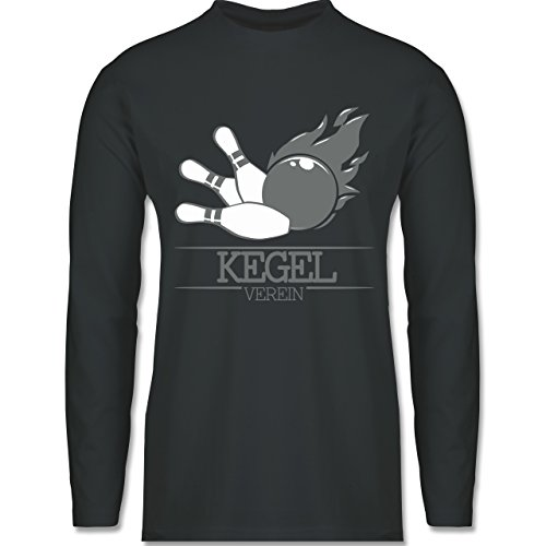 Shirtracer Bowling & Kegeln - Kegel Verein Kugel Flamme - Herren Langarmshirt Dunkelgrau