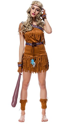 Bigood Indian Women Lady Costumes Native Fringe Halloween Outfit Fancy Dress