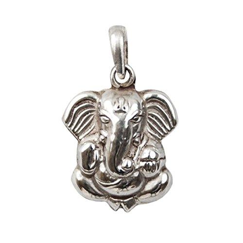 Schmuck Anhänger Ganesha, 925 Sterling Silber, 22mm, Damen Kettenanhänger Elefantengott Buddha Elefant mit Schmucksäckchen